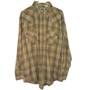 Plaid VTG Western Shirt Pearl Snaps Single Stitch
